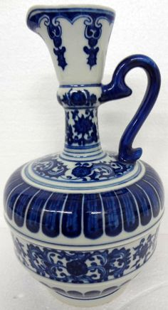 Antique Chinese Porcelain Blue  White Pitcher