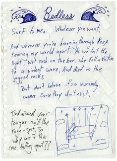 Misadventures _ Handwritten lyrics from Vic Fuentes Track 9. Bedless