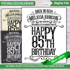 Check out Personalized Birthday Poster Sign, Birthday Chalkboard Poster, 80 Years Ago Back in Gift, Signage, Birthday Sign - on digitalboard 60th Birthday Gifts For Men, Birthday Decorations For Men, 85th Birthday, Birthday Board, Birthday Signs, Birthday Ideas, Sister Birthday, Homemade Wedding Gifts, Homemade Anniversary Gifts