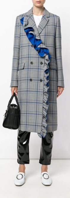 MSGM frilled checked double-breasted coat. Love the frills! Enjoy RUSHWORLD boards, WINTER'S BONE COAT COUTURE, UNPREDICTABLE WOMEN HAUTE COUTURE and LULU'S FUNHOUSE. Follow RUSHWORLD! We're on the hunt for everything you'll love! #HauteCouture #WinterCoat #WhatToWear #WintersBoneCoatCouture