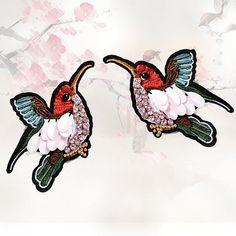 1 paar spiegel vogels Patches / een paar vogels stoffen/Sequin