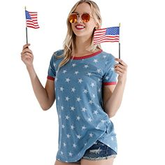 Preppy Doll Made in USA Women s Stars and Stripes Solid Casual Soft Short  Sleeve Top Shirt d6426d64c