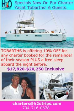 10% off special for Yacht Tobarths AND free Sleep aboard! Still lots of opportunity to book this yacht before Summer