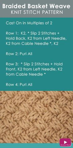 How to Knit the Basket Weave Stitch Diagonal Braided Woven Cables with Free Knitting Pattern Video Tutorial by Studio Knit via @StudioKnit