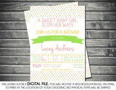 Girl's Baby Shower Invitation - Modern, Multi Colored, Polka Dots, Printable, Digital $13.00