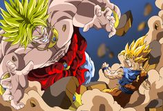 Son Goku and Broly Fighting