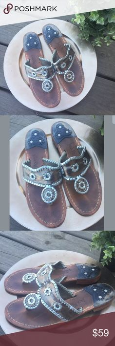 Jack Rogers Silver Pewter Navajo Leather Sandals Jack Rogers Silver Pewter Navajo Leather Solid Print Slip On Flip Flops  Size 9 M  Preowned. Surface and sole wear. See pictures. Still a lot of life left in these shoes. Jack Rogers Shoes Sandals