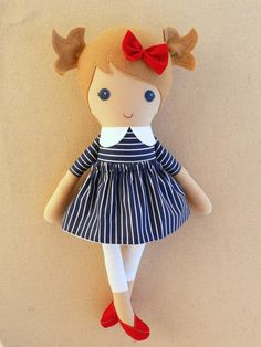 Fabric Doll Rag Doll Light Brown Haired in Navy and by rovingovine