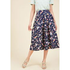 Collectif Off in My Own Whirl Midi Skirt (€15) ❤ liked on Polyvore featuring skirts, a-line skirt, apparel, bottoms, varies, colorful skirts, navy skirts, zipper skirt, navy knee length skirt and navy blue a line skirt