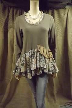Lagenlook Upcycled Romantic Ruffled Tunic as by bluemermaiddesigns, $64.00