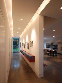 Layered lighting in hallway