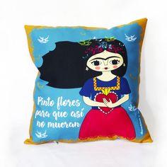 Frida Kahlo cushion by Chunchitos, Pinto flores para que así no mueran.
