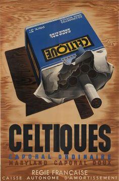 By Adolphe Mouron Cassandre (1901-1968), 1936, Celtiques, Caporal ordinaire, L. Danel, Paris.