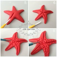 starfish tutorial estrela do mar Polymer clay sea stars tutorial – step by step Polymer clay starfish- I would much prefer to make them than use ones that have been killed! Baby Boom Serbia: Svasta - something of fondant Related posts Best friend photo Mermaid Birthday Cakes, Mermaid Cakes, Fondant Toppers, Fondant Cupcakes, Cupcake Toppers, Decors Pate A Sucre, Ocean Cakes, Pie Decoration, Satin Ice Fondant