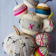 Skip the carving knife in favor of Halloween pumpkins that speak to your crafty side. Colorful yarn and hot glue are about all you need to create playful pumpkins that last for months not just a few days.