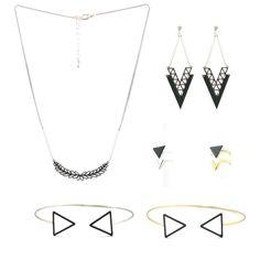 Boucles d'oreilles collier bagues et bracelet jong de formes géométriques émaillés gris foncé