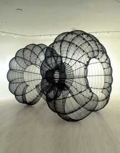 Kendall Buster, Double Chalice (With Chambers Joined and Separated) , 1996, steel, insect screen, wire