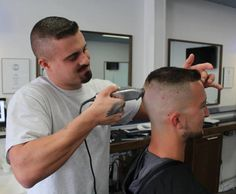 buzzcut barbershop long hair and lack of hair. Hot Haircuts, Summer Haircuts, Hairstyles Haircuts, High And Tight Haircut, Flat Top Haircut, Beard Haircut, Fade Haircut, Crew Cuts, Hair And Beard Styles