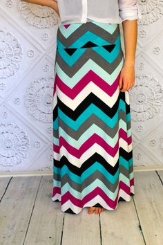 Mint Teal Black Pink  Chevron Maxi skirt for by Gogreenstyle, $56.00