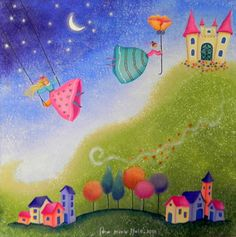 Ana Maria Nale. Pintura naif e infantil. Cuadros originales y laminas. Folk, Wonderful Picture, Elves, Illusions, Art For Kids, Fantasy Art, Dinosaur Stuffed Animal, Illustration Art, Fairy