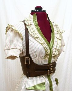 Lucille Brown Leather Underbust Harness Belt - and the blouse is kind of cute too...