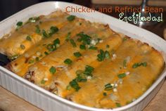 *These were good. Nothing to rave over, but filling for sure.* Chicken and Refried Bean Enchiladas