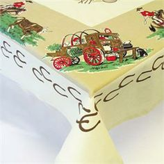 Vintage style tablecloths and kitchen linens.
