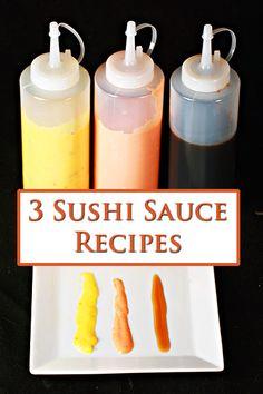 3 Sushi Sauce Recipes – Dynamite, Eel, and Mango – Celebration Generation - 箸 & 寿司 2020 Sushi Roll Recipes, Cooked Sushi Recipes, Cooked Sushi Rolls, Best Sushi Rolls, Sandwich Recipes, Mango Sushi, Sushi At Home, Sushi Night, Mango Sauce