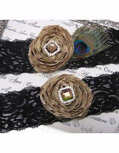 Black Lace and Champagne Rose Garter Set