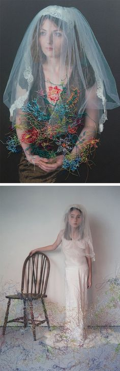 Hand Sewn Portraits by Melissa Zexter