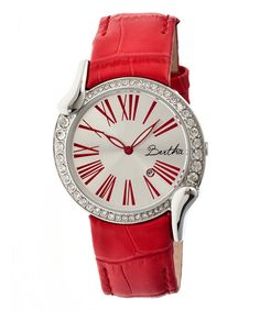 This Stainless Steel & Red Olive Leather-Strap Watch is perfect! #zulilyfinds