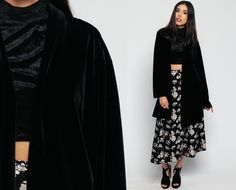 Black VELVET Jacket 80s Wrap Draped Gothic Vintage by ShopExile