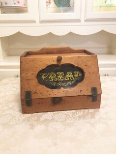 Excited to share this item from my shop: Retro Rustic Wooden Bread Box With Glass Detail In Center Reads Bread Wheat Fill The Bottom. All Original! Wooden Bread Box, Bread Boxes, Vintage Bowls, Wooden Cabinets, Display Shelves, Shadow Box, Thoughtful Gifts, Toy Chest, Fill