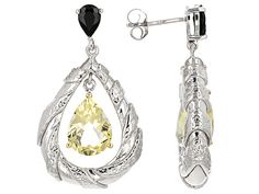 4.20ctw Pear Shape Canary Yellow Quartz And .75ctw Round Black Spinel