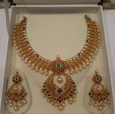 Gold Pearl Necklace Set from Mahalaxmi Jewellers