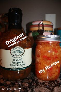 Used this sauce tonight with a pork roast. Our Forever House: Pineapple & Habanero Sauce Knock-Off Pineapple Habanero Sauce, Habanero Salsa, Pineapple Jam, Salsa Picante, Pineapple Salsa Canning Recipe, Copycat Recipes, Sauce Recipes, Antipasto, Sauce Pour Porc