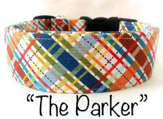 MultiColor Plaid Dog Collar The Parker by PuddleJumperPups on Etsy, $17.50