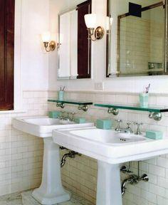 Elements Of A Vintage Bath. Subway Tile Vintage bath, subway tile, co Vintage Bathroom Sinks, Pedestal Sink Bathroom, Bathroom Sink Storage, Art Deco Bathroom, Glass Bathroom, Bathroom Design Small, Sink Shelf, Bathroom Cabinets, Bathroom Ideas