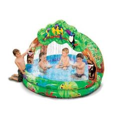 Banzai Rain Forest Sprinkles Pool  if i get all the water toys like this i want i will give schlitterbahn a run for its money : )