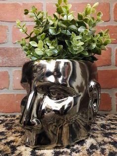 Human Head Vase Planter Ceramic Face Plant Deco Holder Statue Metallic Silver Human Head, Needful Things, Planters, Metallic, Vase, Ceramics, Statue, Deco, Chic