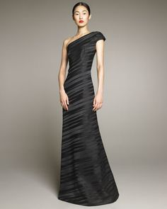 One-Shoulder Pleat Gown by David Meister Signature at Bergdorf Goodman. Here for the construction of the top with darts. I would leave off the sleeve