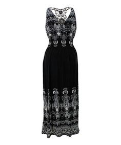 Look what I found on #zulily! Black Paisley Crochet-Back Maxi Dress #zulilyfinds