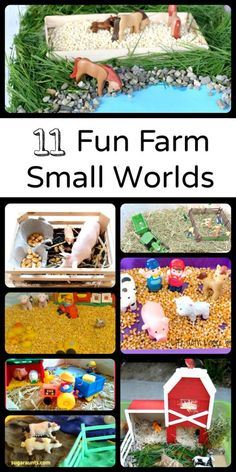 11 Fun Farm Small Worlds - A great resource for activities grouped into theme and concept. Note: I know my would play with these for hours! Sensory Bins, Sensory Play, Farm Sensory Bin, Sensory Table, Farm Activities, Preschool Activities, Preschool Farm, Farm Unit, Small World Play