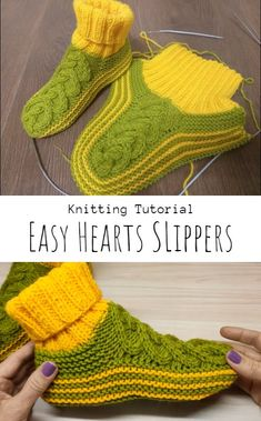 Knit Easy Celtic Hearts Slippers - Craft With Yarn Knit Slippers Free Pattern, Baby Sweater Knitting Pattern, Knitted Slippers, Knitting Patterns Free, Easy Knitting, Knitting Needles, Chain Of Hearts, Celtic Heart, Baby Sweaters