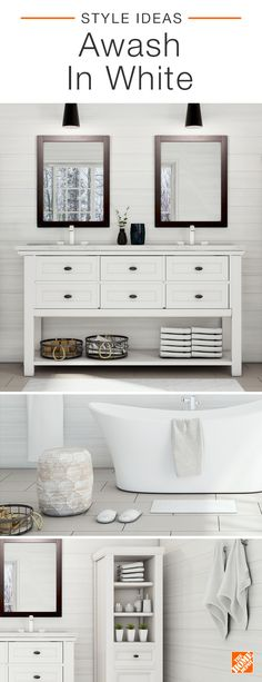 Contrast is king in this gorgeous white bathroom. A luxuriously modern soaking tub shines against rustic shiplap walls. Bold black-framed mirrors and pendant lights add a contemporary twist to a gorgeous cottage-style vanity and linen closet, both featuring plenty of stylish storage. Click to shop this beautiful white bath.