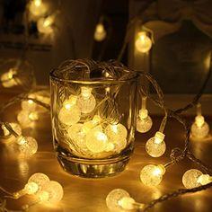 ping® Solar Lichterkette 30er led Kristall Kugeln für Party, Garten, Weihnachten, Halloween, Hochzeit, Beleuchtung Deko in Innen und Außenbereich usw. Wasserdicht 6,5M warm weiß [Energieklasse A+++]