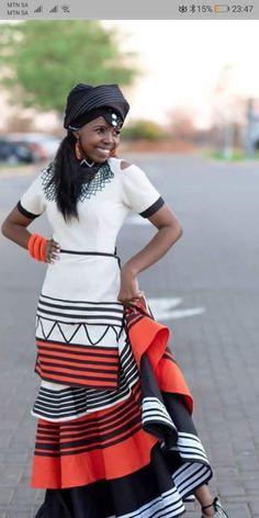Orange and Black Xhosa Dress African Dresses Men, Latest African Fashion Dresses, African Print Fashion, African Attire, African Wear, Ethnic Fashion, Zulu Traditional Attire, Sepedi Traditional Dresses, African Fashion Traditional