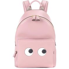 Anya Hindmarch Eyes Right Mini Leather Backpack (3.300 RON) ❤ liked on Polyvore featuring bags, backpacks, accessories, borse, pink, pink leather backpack, pink leather bag, pink backpack, leather rucksack and mini rucksack