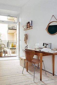 danish interior design white office with series 7 chair