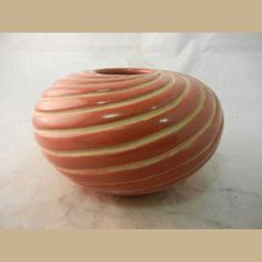 Red melon swirl #seed pot by #SantaClara artist Denise Chavarria